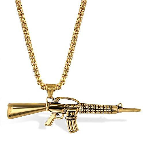 JewelryWe Schmuck Herren Halskette, Edelstahl Armee Gewehr Pistole Waffe AK47 Anhänger mit 56cm Kette, Gold