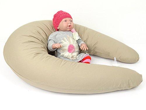 XXL Baby Stillkissen, Seitenschläferkissen, 210 cm, Lagerungskissen, 100 % Baumwolle, bei 40 °C waschbarer Bezug mit Reißverschluss (Farbe beige)