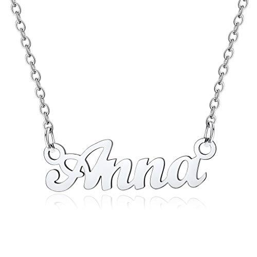 Anna Collares Resistentes Metálicos con Letras de Nombres con Cadena Delgada Colgantes Modernos de Cuello para Femeninas