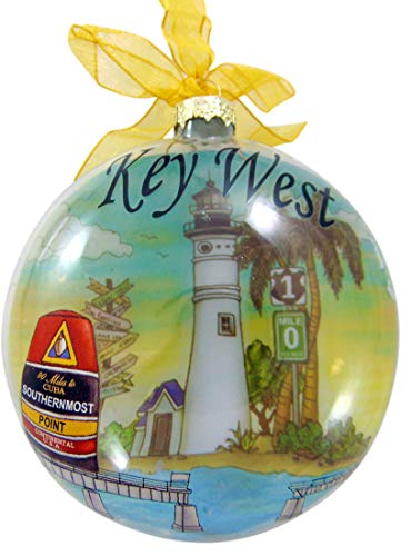 Key West Ornament Polyresin Christmas Tree Decoration Souvenir of Florida with Ribbon, 4 1/2 Inch