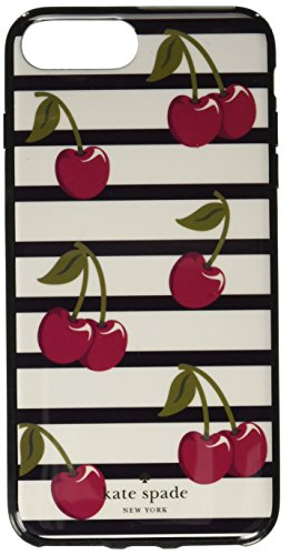 Kate Spade New York Women's Cherry Stripe Phone Case for iPhone 7 Plus Cream Multi Cellphone Case