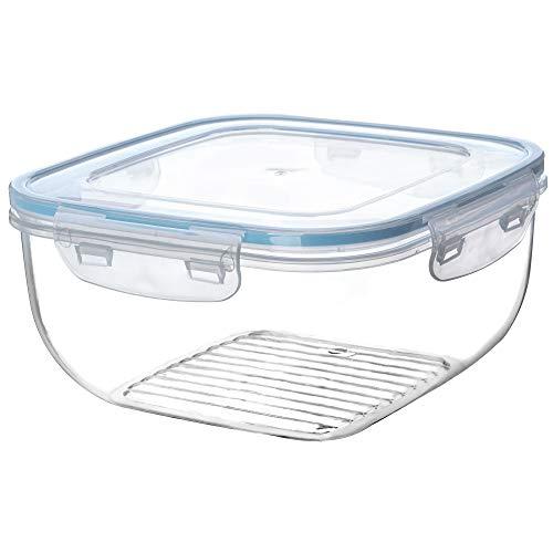 KADAX Frischhaltedose mit Deckel, klick-it, Lebensmittelbehälter aus Kunststoff, geeignet für Kühlschrank, Mikrowelle, Gefrierschrank, Vorratsdose, luftdicht, transparent/blau (2,4L)