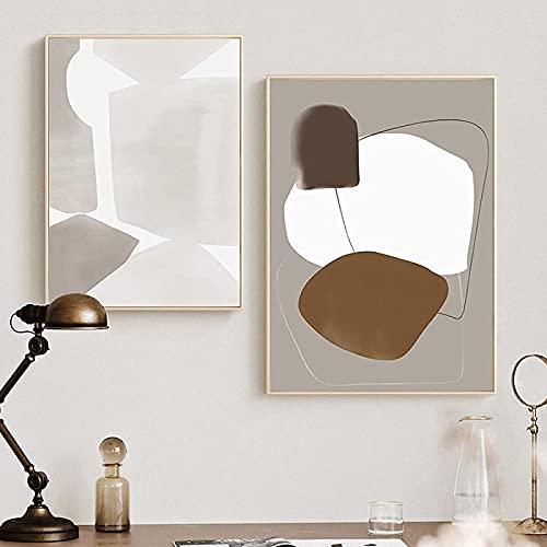 YHJK Lienzo Arte de la Pared Arte geométrico Abstracto Cartel Mural Imagen Lienzo Pintura impresión Mural Arte de la Pared línea de Bloques de Color Decorativo 2x30x50cm sin Marco