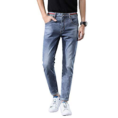 Jeans para Hombre Tendencia de Verano Pantalones Vaqueros elásticos Delgados Simples y versátiles Pantalones de Mezclilla Americana 36