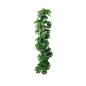 Silk Flower Arrangements Plant for Home 2 Pcs Artificial Monstera Hanging Leaves Vines Twigs Fake Silk Plant for Wedding Party Home Decoration Artificial Plastic Plant