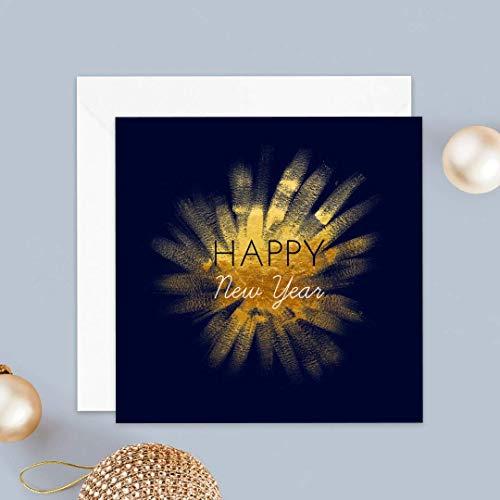 Carte de voeux 2021 • Envolée Festive Bleu et Doré • Lot de 16 Cartes • Papier haut de gamme • 16 Enveloppes Blanches Autocollantes • 14x14 cm Pliée • Idéal pour souhaiter la Bonne Année • Popcarte