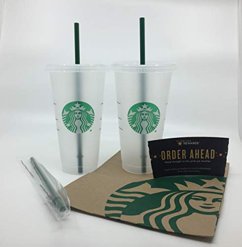 Starbucks Reusable Hard Plastic Venti 24 oz Frosted Ice Cold Drink Cup With Lid and Green Straw w/Stopper-2 Set Plus A Bonus FREE 3rd STRAW with Stopper - 3 Straws Total Travel Gift Bundle (9 Items)