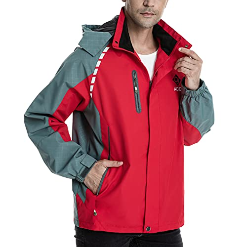 Aojo - Giacca impermeabile da uomo, antivento, leggera, traspirante, antivento, Rosso, XL