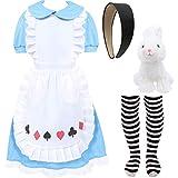 Disfraz de Alicia del País de las Maravillas, disfraz de Día Mundial del Libro para Niñas, vestido azul + Delantal + Banda Alicia + Medias de rayas blancas y negras + conejo Juguete (X-Grande)