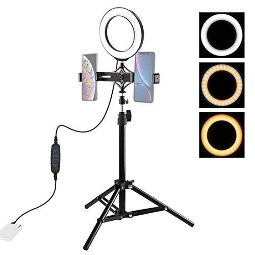DUS 6.2 pulgadas trípode luz LED anillo luz soporte con doble teléfono titular para TIK Tok, maquillaje, vídeo, foto