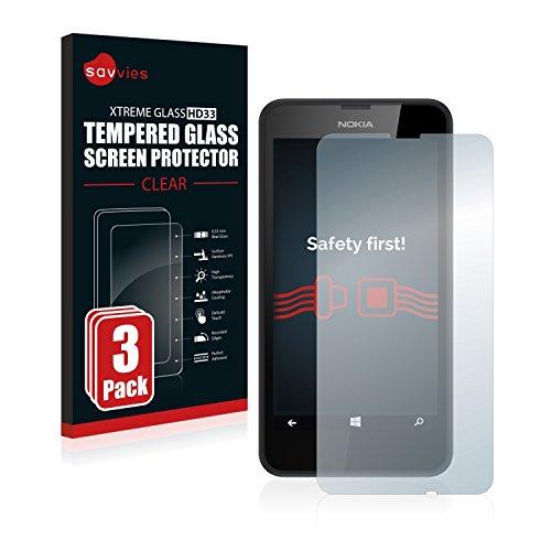 Savvies Panzerglas kompatibel mit Nokia Lumia 630 (3 Stück) - Echt-Glas, 9H Festigkeit, Anti-Fingerprint