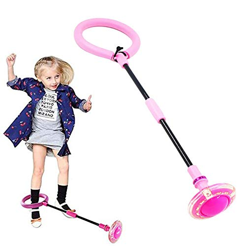 Knowing Bola de Salto de Tobillo, Anillo de Salto Intermitente, LED Plegable Saltar Bola, Colorida Anillo de Salto de Tobillo, para Niños Juegos Divertidos para Adultos Deportes Aire Libre (Rosado)
