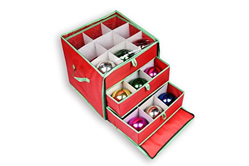 red ornament storage box with drawers slight open and ball ornaments inside each drawer