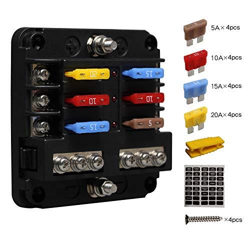 Porta Fusibles Plano ATC/ATO, Caja Fusibles Coche ENDARK, Cuadro Fusibles Coche de 6 vías con Indicador LED de Bus Negativo para coche, barco, furgoneta, SUV