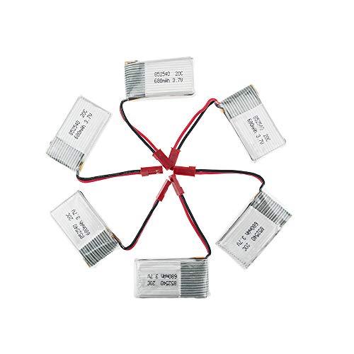 rpbll 5 Pezzi 3.7V 680mAh Batteria LiPo per FY550 F550 MJX X400 JXD 509G 509W Fotocamera Quad Quadter elicotteri TK110HW Giocattoli