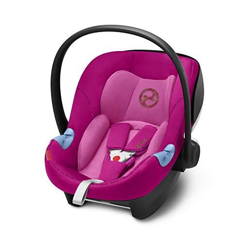 CYBEX Gold Siège Auto Coque pour Bébé Aton M i-Size, Réducteur Nouveau-Né Inclus, Pour les Enfants de 45 cm à 87 cm, 13 kg max., Fancy Pink
