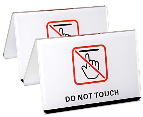 dealzEpic - Do Not Touch Table Top Sign | Clear White Acrylic Double-Sided Tabletop Sign - 4.1x2.6 inches | Set of 2