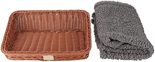 MYYINGELE Wicker Basket for Cat Bed Comfortable Bed for All Seasons Pets with Fluffy Blanket for Small and Medium Dogs 13 78 x 9 84 x 4 53in