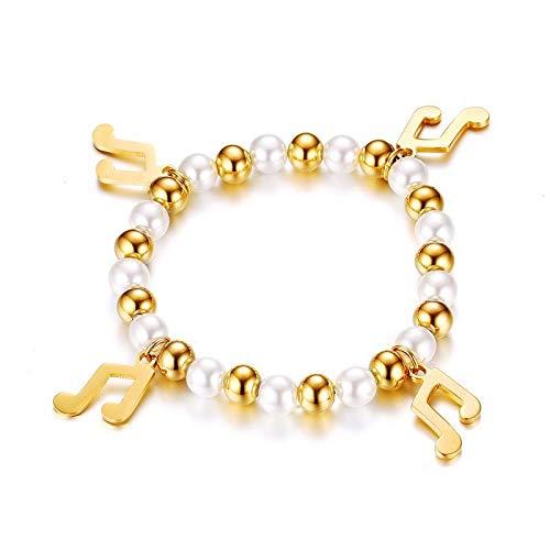 Accessori da donna alla moda, note musicali in acciaio inox da 8 mm, squisiti bracciali intrecciati a mano oro + bianco
