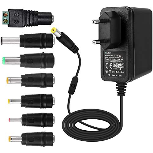 EFISH Adattatore di Alimentazione 12V 2A con Interruttore,Spina di Alimentazione per elettrodomestici,Telecamera CCTV,Campanello,Router,Hub,Strisce LED,Campanello di Allarme,Scanner+7 Diverse Spine