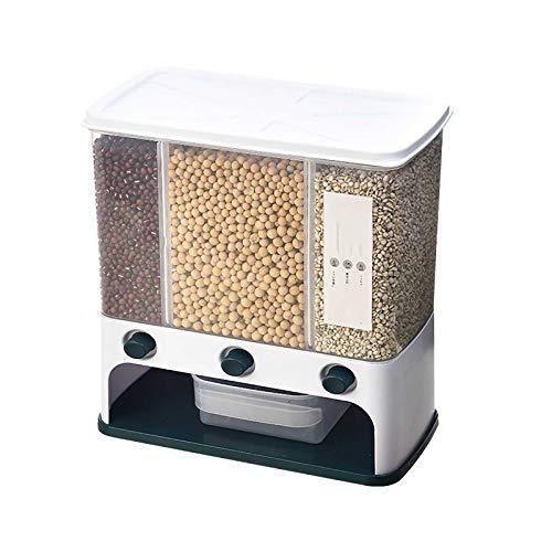 Caja de almacenamiento de arroz de medición de estilo japonés de la cocina Caja de granos automáticos para el hogar División de arroz cubo plástico montaje en pared Nano-cilindro