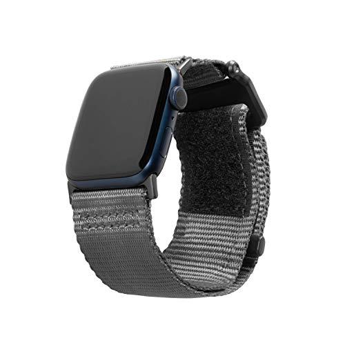 Urban Armor Gear Active Strap LE Pulsera para Apple Watch 42mm / 44mm (Watch SE, Series 6 / Series 5 / Series 4 / Series 3 / Series 2 / Series 1, Correa de Nylon y Acero Inoxidable) Gris Oscuro