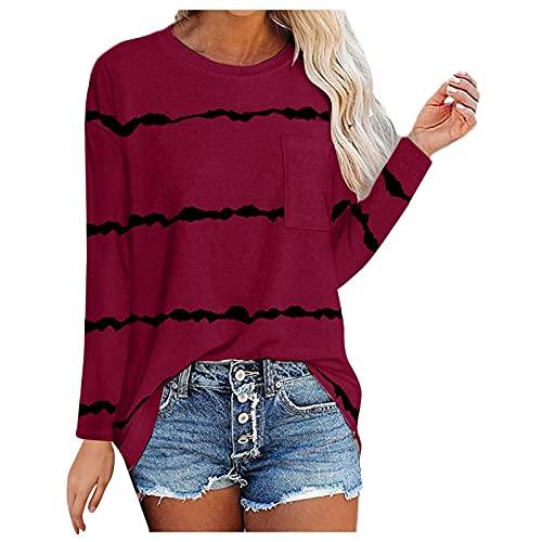 neiabodos Camiseta de manga larga a rayas con cuello redondo para mujer, con bolsillos, manga larga,...
