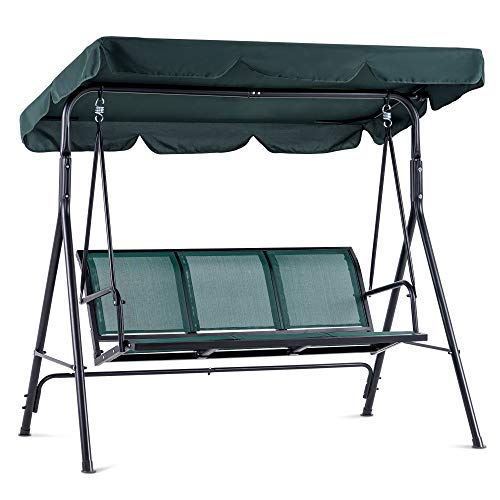 MCombo Outdoor Patio Canopy Swing Chair 3-Person, Steel Frame Textilence Seats Swing Glider, 4507 (Green)
