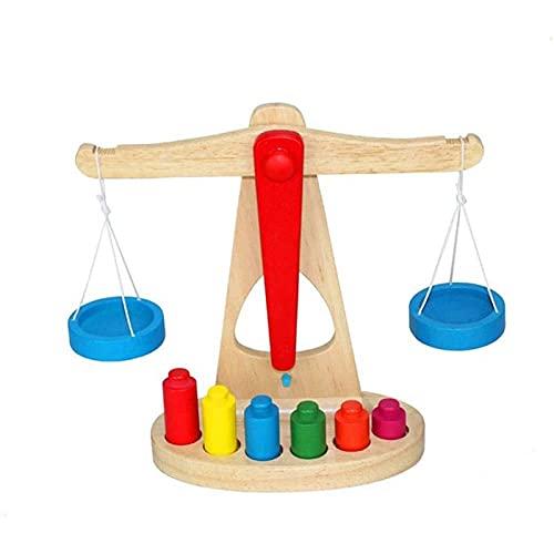 ZXNRTU Låtsas spela grundläggande livskällor leksaker bra för barns lärande, barn leksak trä balans skala med 6 vikter