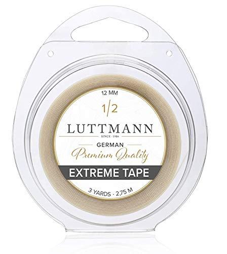 LUTTMANN® Extreme Tape - 12 mm de haute qualité extra Hold Ruban adhésif adhésif adhésif Lacefront transparent pour systèmes de cheveux, accessoires de cheveux, perruques, toupets et extensions