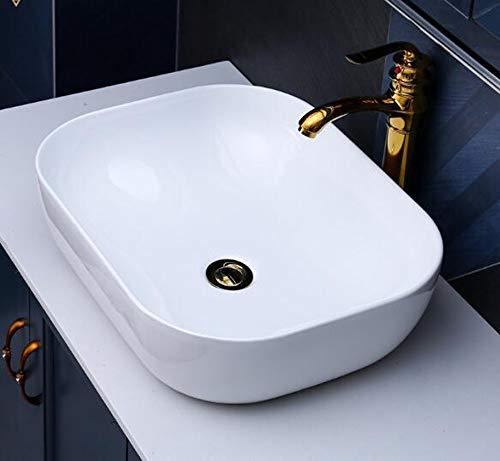 Lavabo de Cerámica pequeño Ovalado sobre encimera Blanco Baño 50,4cmL 40cmB
