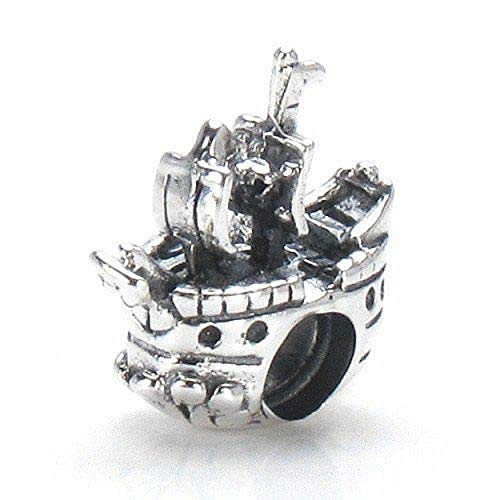 EvesCity 925 Silver Pirate Ship Boat sea Ocean sail Charms Beads Pendants for Charm Bracelets & Necklace