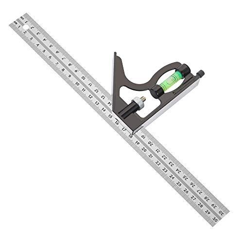 Siumir Edelstahl Kombinationswinkel Lineal 300 mm Einstellbare Kombination Square Messwerkzeug