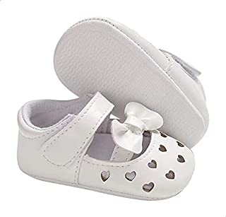 Mix & Max Laser-Cut Faux Leather Bow-Detail Mary Jane Shoes for Girls - White, 9-12 Months