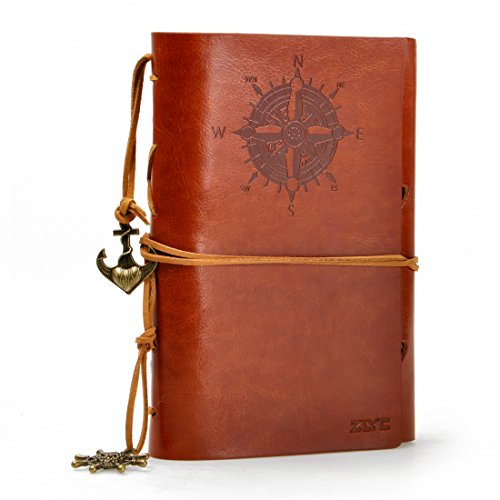 ZLYC European Style Retro Handmade Refillable Leder Notebook Reisende Journal