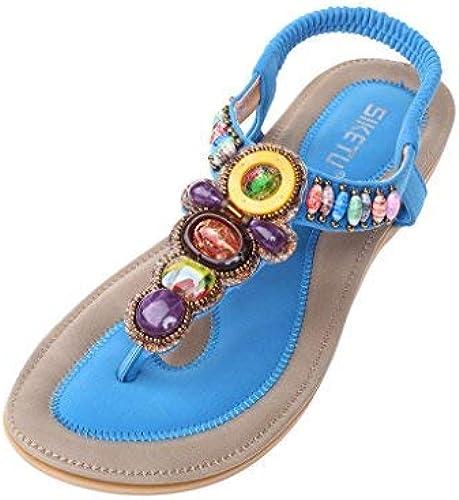 Qiusa Perles d'été pour Femmes T-Strap Bohemia Sandales Romaines Tongs Tongs Tongs et Tongs de Plage (Couleuré   Style 2-bleu, Taille   5.5 6 UK) 3e2