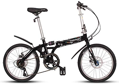 Review IMBM Adults Unisex Folding Bikes, 20″ 6 Speed High-Carbon Steel Foldable Bicycle, Lightweight Portable Double Disc Brake Folding City Bike Bicycle (Color : Black)