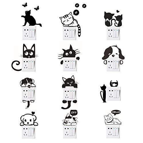 Wandschalter Aufkleber, Katze Hund Lichtschalter Aufkleber Lustige Tier Wandtattoos für Schlafzimmer Wohnzimmer Schwarz 12 Pcs