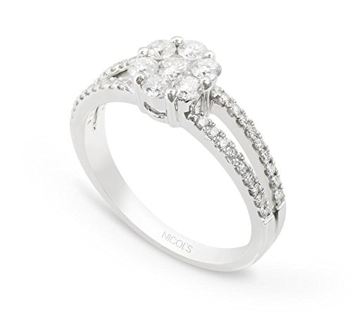 NICOLS 14710031211 - Anillo Diamantes Rosetón DIAMOND CLASSIC NICOL´S. Fabricada en oro blanco y diamantes talla brillante. Peso total D0.85ct.