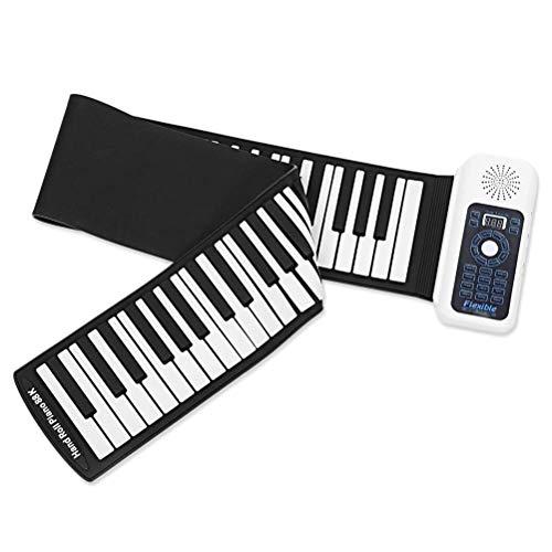 CCLLA Piano portátil Enrollable de 61/88 Teclas - Versión Mejorada Piano electrónico Flexible con Chips de procesamiento Inteligente, Adecuado para Principiantes y niños, Blanco, 88 Teclas