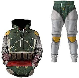 Boba Fett Jacket Pants Set Halloween Cosplay Pullover Hoodie Lounge Trousers for Men XXL As product image