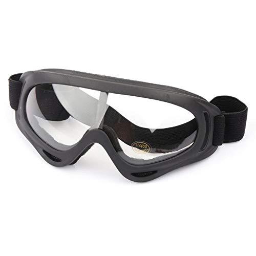 QWERTYU Gafas de esquí, protección deportivas, snowboard, skate, gafas de esquí, resistentes al viento, al polvo y a los rayos UV, negro transparente,