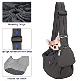 SlowTon Pet Sling Carrier, Comfortable Hard Bottom Support Small Dog Papoose Sling Adjustable Padded Shoulder Strap Hand Free Puppy Cat Carry Bag with Drawstring Opening Zipper Pocket Safety Belt