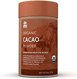 OMG! Superfoods Organic Cacao Powder - 100% Pure, USDA Certified Organic Cacao Powder - 8oz
