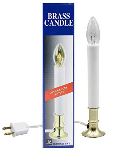 Creative Hobbies lámpara de Vela eléctrica para Ventana con Base chapada en latón, Interruptor de Encendido/Apagado, Bombilla Lista para Usar.