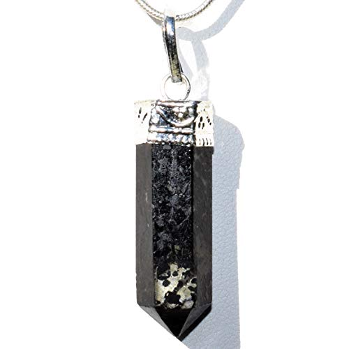 """CHARGED Faceted Starburst Flash Nuummite Crystal Perfect Pendant + 20"""" Silver Chain + Selenite Charging Heart Included (HEALING ENERGY SORCER"""