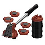 Mega Maxx Heavy Duty Furniture Lifter with 4 Sliders for Easy and Safe Moving, Appliance Roller Suitable for Sofas, Couches and Refrigerators, Adjustable Height [Load Capacity: 660lbs Per Wheel] Brown
