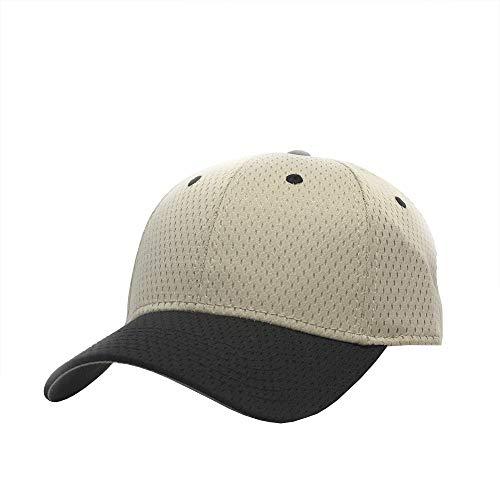 Plain Pro Cool Mesh Low Profile Adjustable Baseball Cap (Black/Khaki)