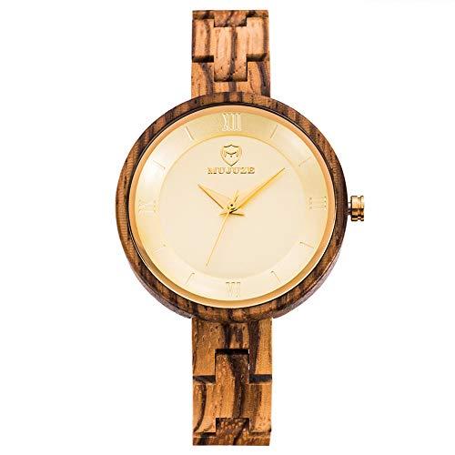 SYLL Reloj de Madera Natural Movimiento analógico de Cuarzo Reloj de Pulsera de Madera Correa de Madera Ajustable Relojes Minimalistas de Madera Ligeros,Zebra Wood