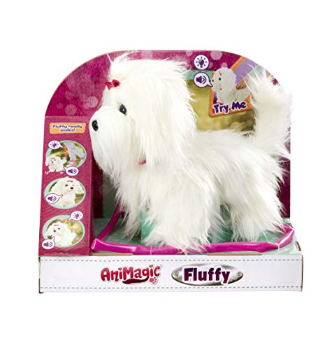Animagic-256606 Fluffy Perro, Felpa Funcional, color blanco (256606) , color/modelo surtido